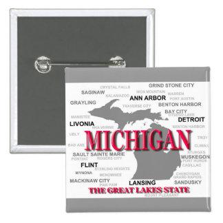 Silhouette de carte de fierté d État du Michigan Badge Avec Épingle