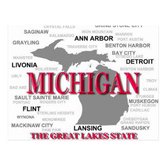 Silhouette de carte de fierté d État du Michigan Carte Postale