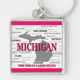 Silhouette de carte de fierté d État du Michigan Porte-clefs