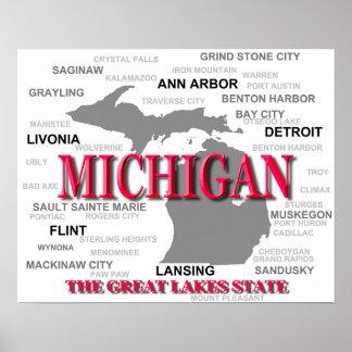 Silhouette de carte de fierté d État du Michigan Affiche
