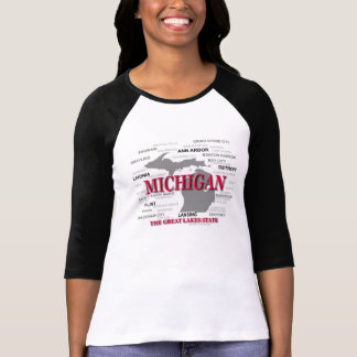 Silhouette de carte de fierté d État du Michigan T-shirt