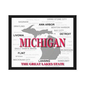 Silhouette de carte de fierté d'État du Michigan Toiles