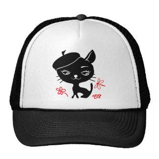 Silhouette de chat dans le chapeau casquette de camionneur