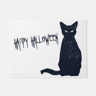 Silhouette de chat noir de Halloween Paillasson