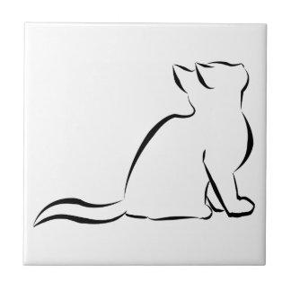 Silhouette de chat noir petit carreau carré