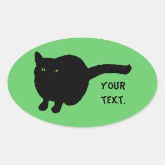 Silhouette de chat noir, yeux verts votre autocollants ovales