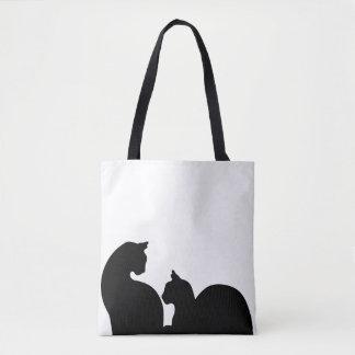 Silhouette de chats tote bag