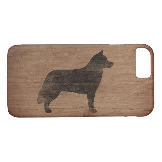 Silhouette de chien de traîneau sibérien rustique coque iPhone 7