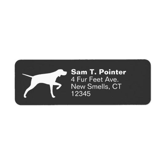 Silhouette de chien d'indicateur étiquette d'adresse retour