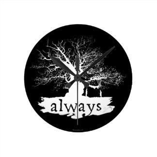 Silhouette de citation du charme | de Harry Potter Horloge Ronde