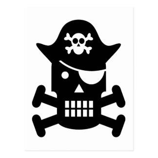 Silhouette de crâne de robot et de pirate d'os cartes postales