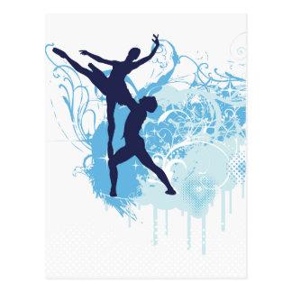 Silhouette de deux danseurs classiques dans le cartes postales