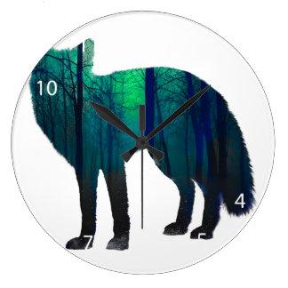 Silhouette de Fox - renard de forêt - art de Grande Horloge Ronde