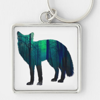 Silhouette de Fox - renard de forêt - art de Porte-clé Carré Argenté