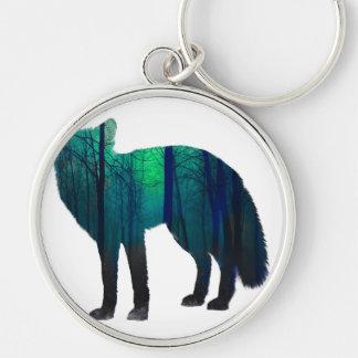 Silhouette de Fox - renard de forêt - art de Porte-clé Rond Argenté