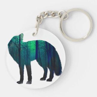 Silhouette de Fox - renard de forêt - art de Porte-clefs