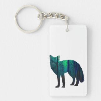 Silhouette de Fox - renard de forêt - art de Porte-clés