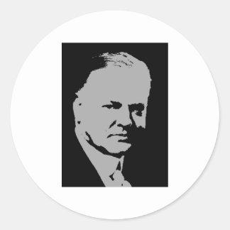Silhouette de Herbert Hoover Adhésif Rond