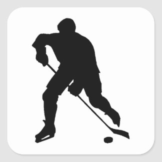 Silhouette de joueur de hockey stickers carrés