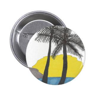 Silhouette de lever de soleil de palmier badge