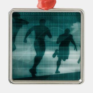 Silhouette de logiciel de traqueur de la forme ornement carré argenté