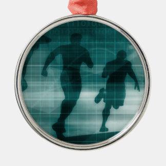 Silhouette de logiciel de traqueur de la forme ornement rond argenté
