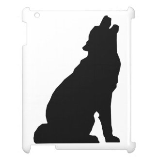 Silhouette de loup d'hurlement coques iPad