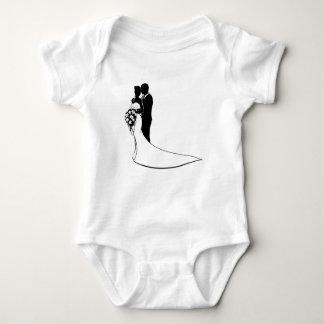 Silhouette de mariage de bouquet de jeunes mariés body