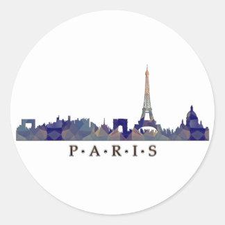 Silhouette de mosaïque d'horizon de Paris Adhésifs Ronds