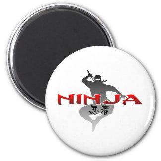Silhouette de Ninja Magnet Rond 8 Cm