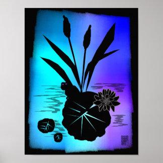 silhouette de protection de lis posters