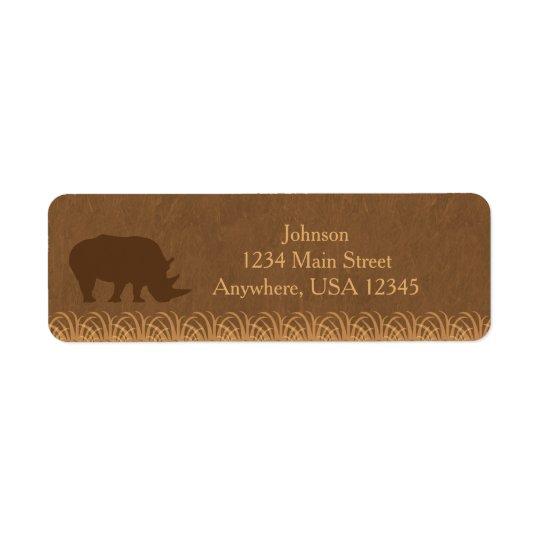 Silhouette | de rhinocéros du thème | de safari étiquette d'adresse retour