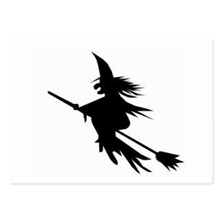 Silhouette de sorcière de manche à balai carte de visite grand format