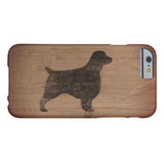 Silhouette de springer spaniel de Gallois rustique Coque iPhone 6 Barely There