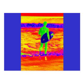 Silhouette de surfer carte postale