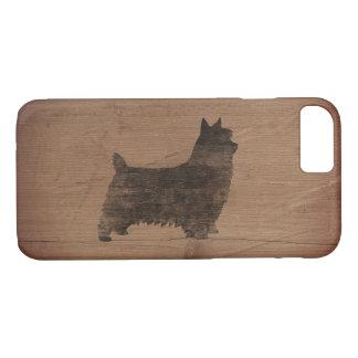 Silhouette de Terrier soyeux rustique Coque iPhone 7