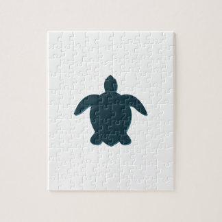 Silhouette de tortue de mer avec l'ombre puzzles