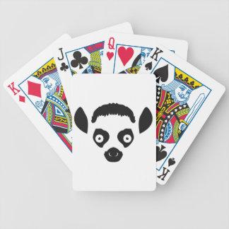 Silhouette de visage de lémur jeu de cartes