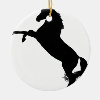 Silhouette debout de cheval ornement rond en céramique