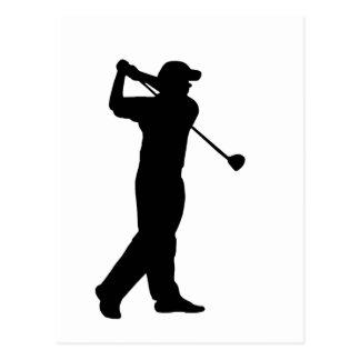 Silhouette d'entraînement de golf cartes postales
