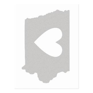 Silhouette d'état de l'Iowa de coeur Carte Postale