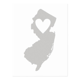 Silhouette d'état de New Jersey de coeur Carte Postale