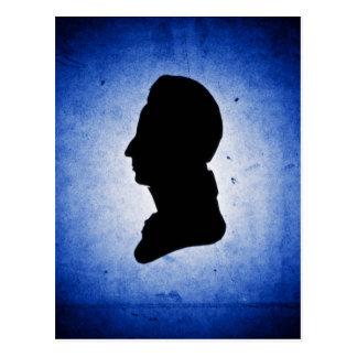 """""""Silhouette d'homme sur"""" la carte postale bleue"""