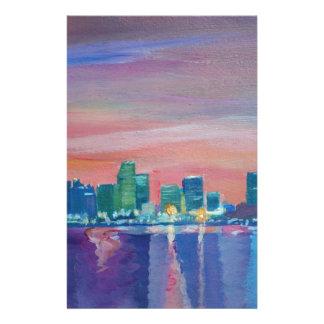 Silhouette d'horizon de Miami au coucher du soleil Papier À Lettre Customisé