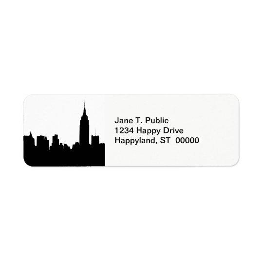 Silhouette d'horizon de NYC, bâtiment #1 d'état Étiquette D'adresse Retour