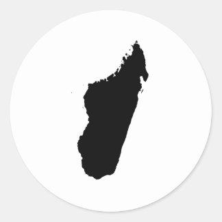 Silhouette du Madagascar Sticker Rond