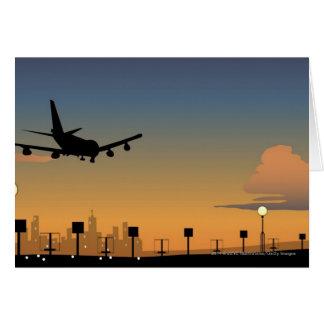 Silhouette d'un avion en vol carte de vœux