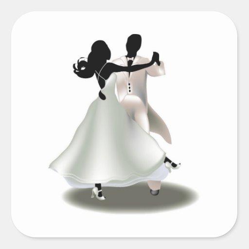Silhouette d'un couple de danse autocollants carrés