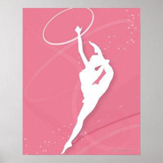 Silhouette d'un gymnaste féminin exécutant avec a posters