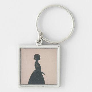 Silhouette d'une fille avec une corde à sauter porte-clé